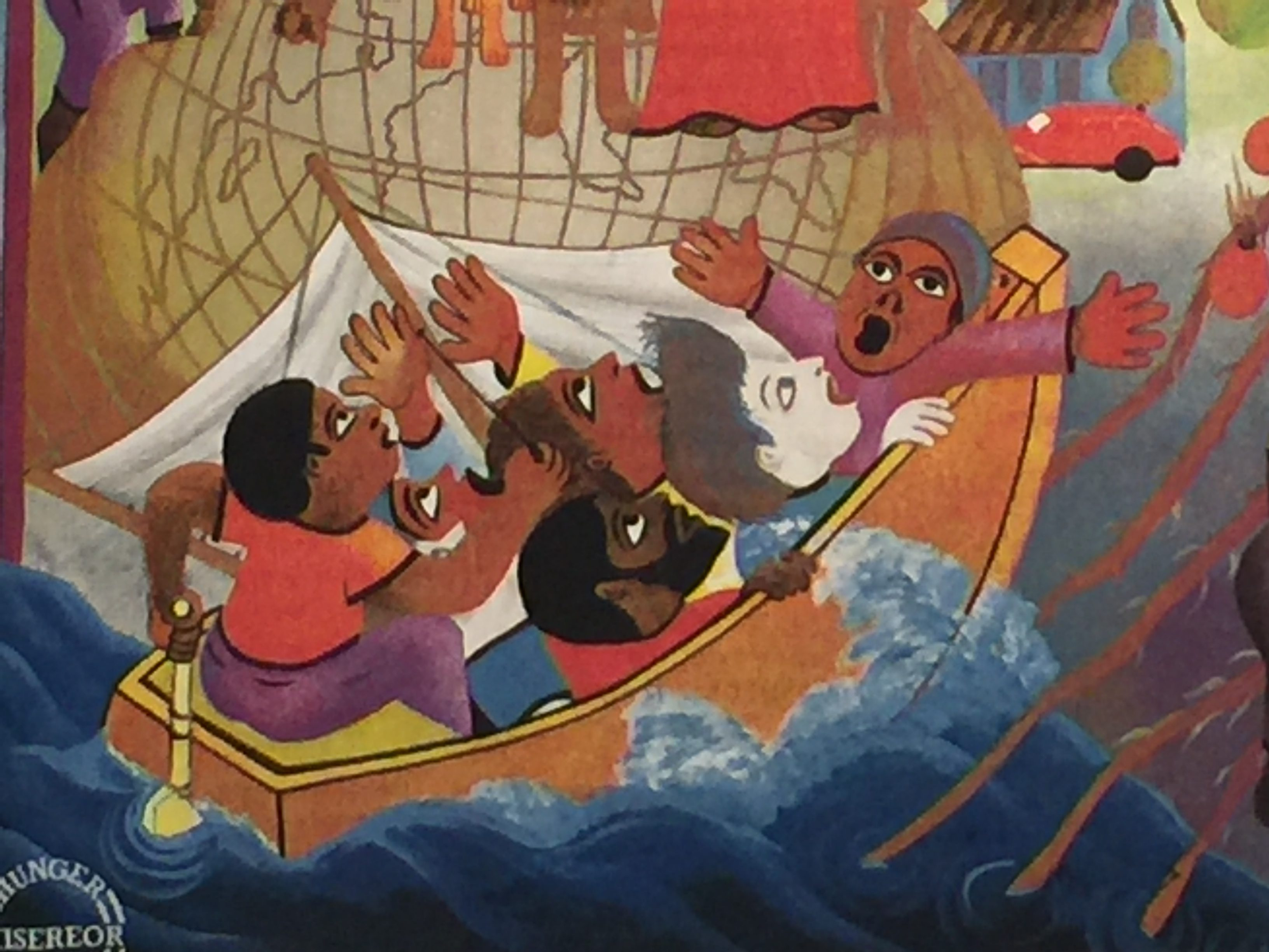 A portion of a painting of people on a boat in a rough sea