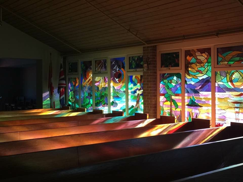 Evening sunlight through Maple Grove's Sanctuary windows, 2017