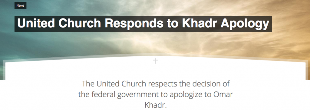 Screen Shot on the United Church's Response to the Khadr apology