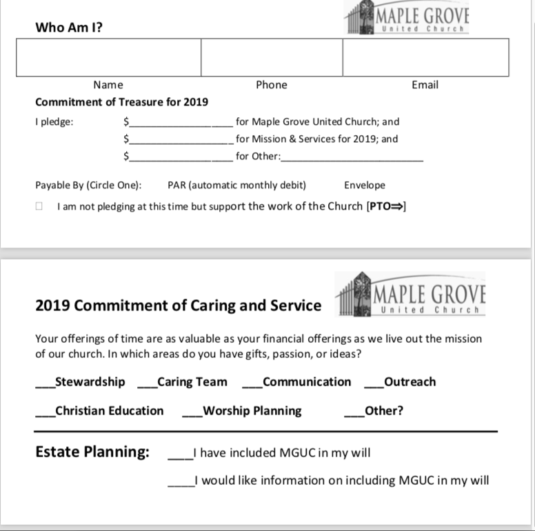 Commitment Card for MGUC 2018/19