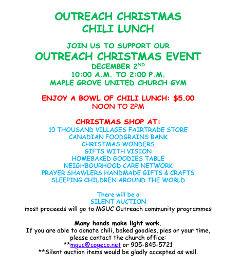 Outreach Christmas Shop & Lunch