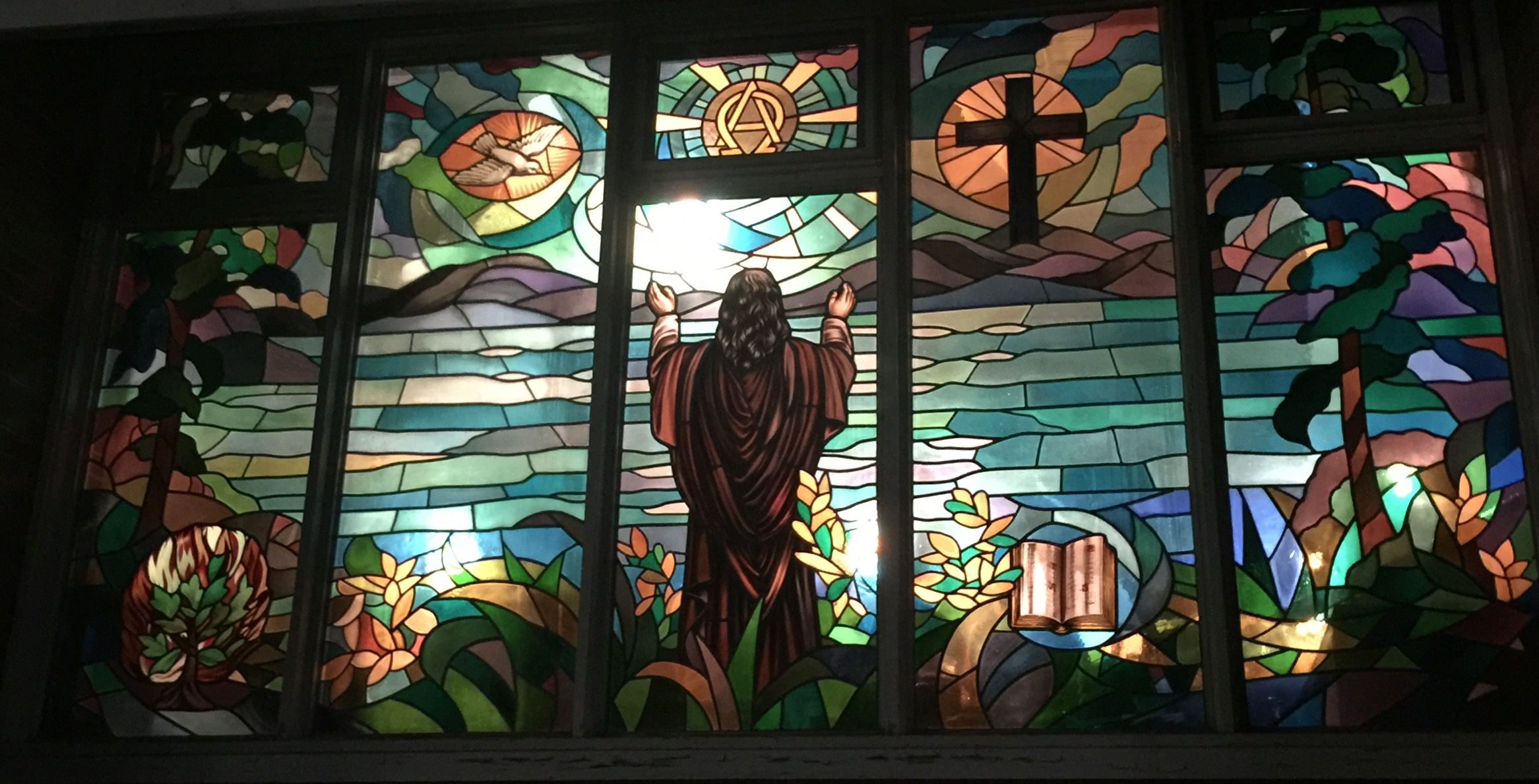 Stained Glass window, lit from inside