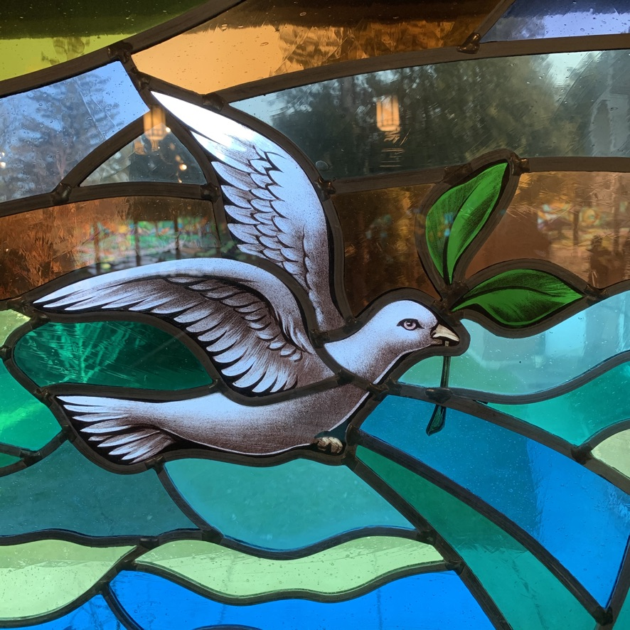 Dove with branch - stained glass window
