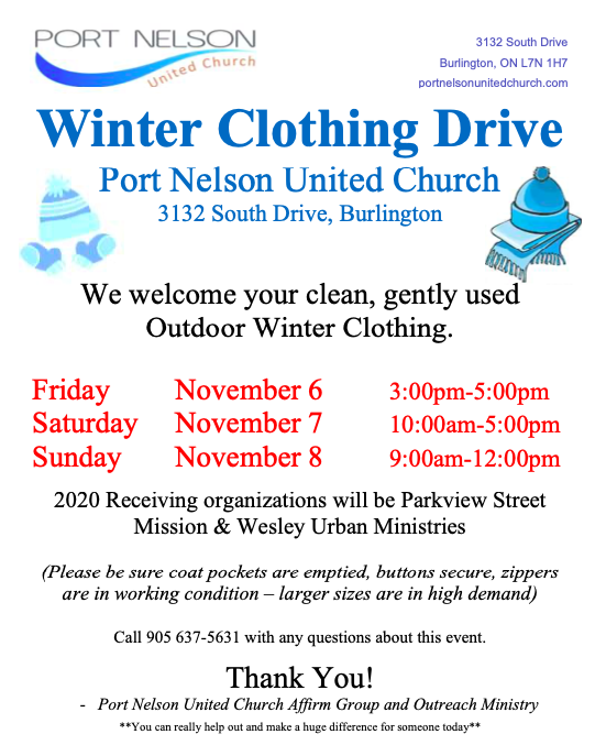 Poster for Port Nelson United Church's Coat Drive 2020