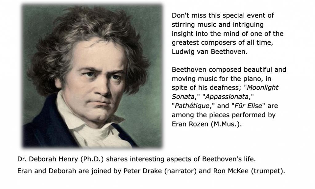 Image of Beethoven & text about lecture