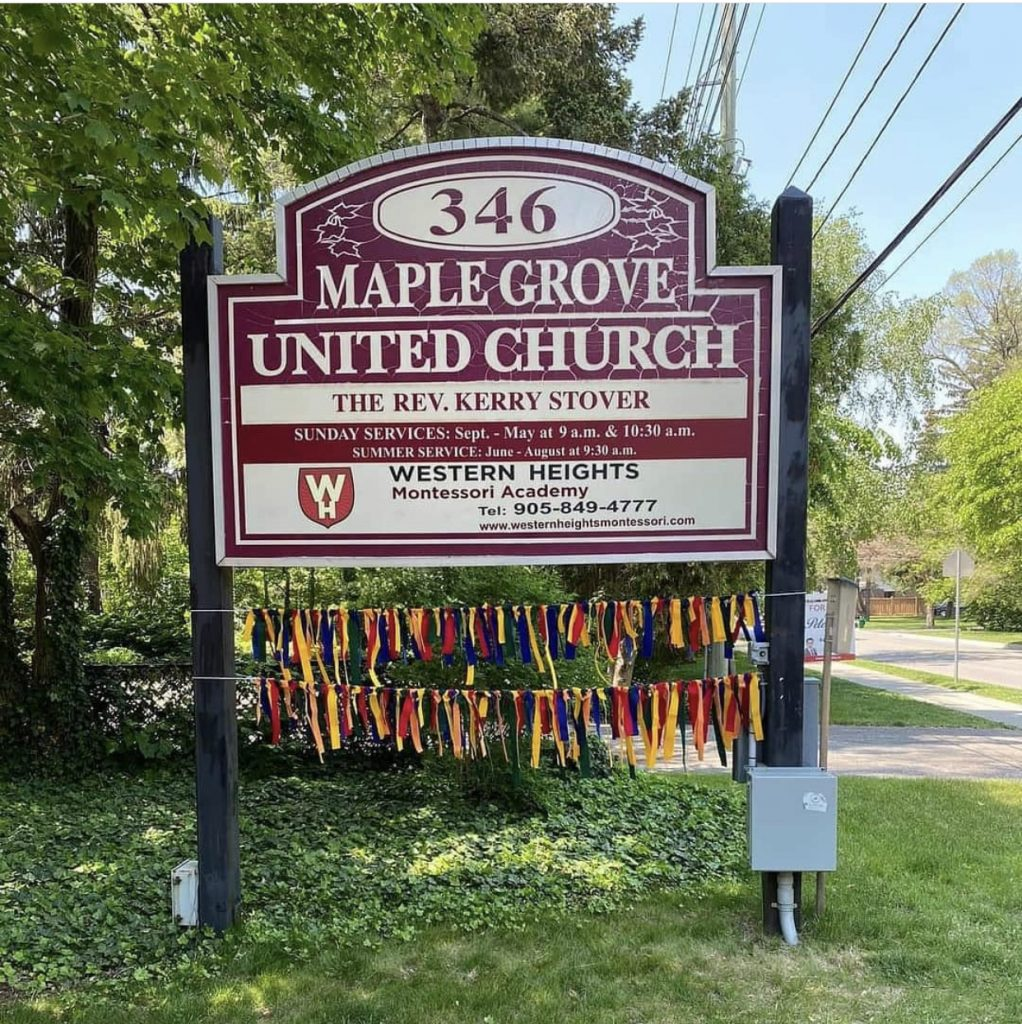 215 ribbons on Maple Grove sign